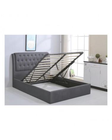 Maxwell Κρεβάτι Διπλό Ύφασμα Γκρι για στρώμα 160x200