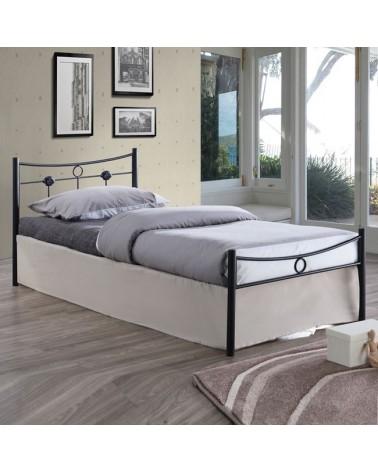 Dugan Κρεβάτι Μαύρο Μεταλλικό για στρώμα 90x200 Ε8068
