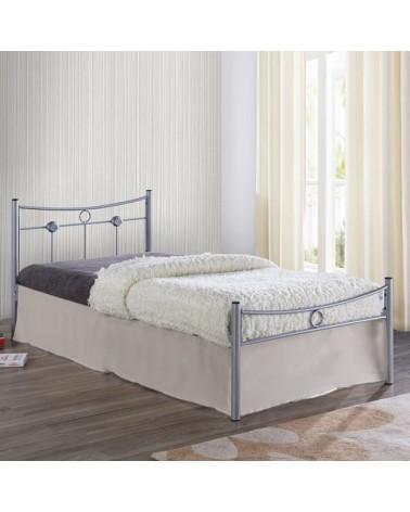 Dugan Κρεβάτι Μεταλλικό Silver για στρώμα 90x200 Ε8068,1