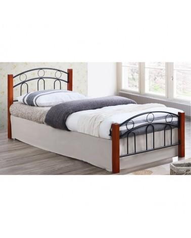 Norton Κρεβάτι Μεταλλικό Μαύρο/καρυδί για στρώμα 90x190  E8070