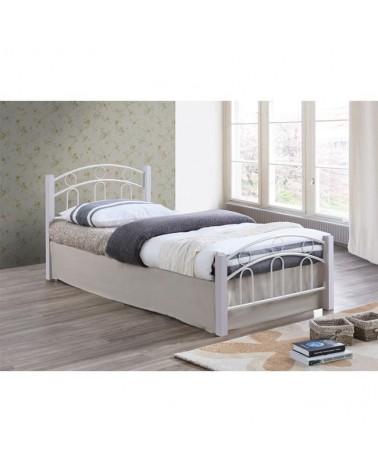 Norton Κρεβάτι Μεταλλικό Λευκό για στρώμα 90x190 Ε8070,1