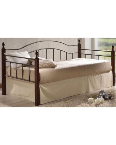 Vincent Daybed κρεβάτι  Μέταλλο μαύρο/Ξύλο καρυδί για στρώμα 90x190  Ε8072