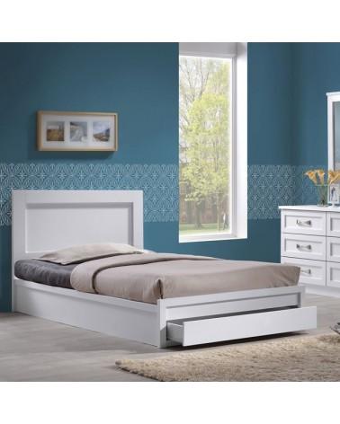 Κρεβάτι Ημίδιπλο Ξύλινο Λευκό με Αποθηκευτικό Χώρο 110x200